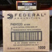 .40 S&W FEDERAL HYDRA-SHOK TACTICAL 155 GRAIN JHP (1000 ROUNDS)