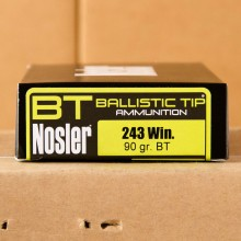 243 WIN NOSLER 90 GRAIN BALLISTIC HUNTING TIP (20 ROUNDS)
