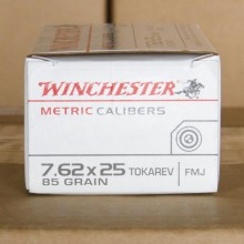7.62x25MM TOKAREV WINCHESTER METRIC CALIBERS 85 GRAIN FMJ (50 ROUNDS)