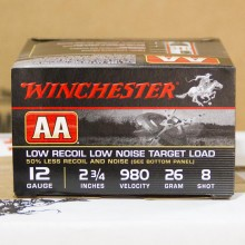 """12 GAUGE WINCHESTER AA LOW RECOIL 2-3/4"""" #8 SHOT (25 ROUNDS)"""