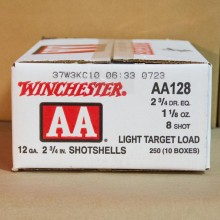 "12 GAUGE WINCHESTER AA LIGHT TARGET 2-3/4"" GRAIN #8 SHOT (250 ROUNDS)"