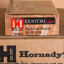 30-30 HORNADY CUSTOM LITE 150 GRAIN RN (20 ROUNDS)