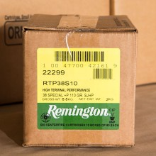 38 SPECIAL +P REMINGTON HTP 110 GRAIN SEMI-JACKETED HOLLOW POINT (500 ROUNDS)