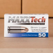 9MM LUGER MAXXTECH STEEL CASED 115 GRAIN FMJ (1000 ROUNDS)