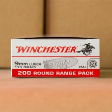 9MM LUGER WINCHESTER RANGE PACK 115 GRAIN FMJ (200 ROUNDS)