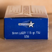 9MM LUGER INDEPENDENCE 115 GRAIN FMJ (50 ROUNDS)