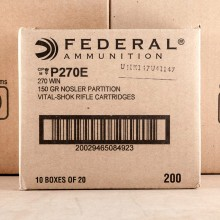 270 WINCHESTER FEDERAL VITAL-SHOK 150 GRAIN NOSLER PARTITION (20 ROUNDS)