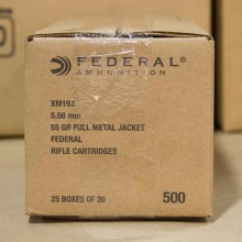 5.56x45 FEDERAL 55 GRAIN FMJ XM193 (500 ROUNDS)