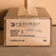 9MM LUGER FEDERAL AMERICAN EAGLE 115 GRAIN FMJ (500 ROUNDS)