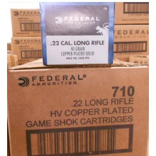 22 LR FEDERAL GAME SHOK 40 GRAIN COPPER PLATED ROUND NOSE SOLID (500 ROUNDS)