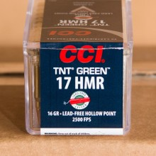17 HMR CCI 16 GRAIN LEAD FREE TNT GREEN HP (50 ROUNDS)
