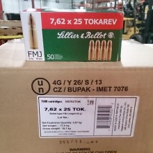 7.62 TOKAREV SELLIER & BELLOT 85 GRAIN FMJ (50 ROUNDS)