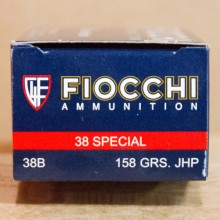 .38 SPECIAL FIOCCHI SHOOTING DYNAMICS 158 GRAIN JHP (50 ROUNDS)