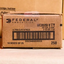 "20 GAUGE 2-3/4"" FEDERAL ULTRA HEAVY FIELD & CLAY #8 SHOT (250 ROUNDS)"