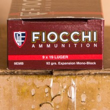 9MM LUGER FIOCCHI EXTREMA 92 GRAIN EMB (50 ROUNDS)