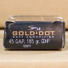 45 GAPSPEER GOLD DOT 185 GRAIN JACKETED HOLLOW POINT (50 ROUNDS)