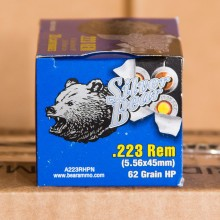 223 REM SILVER BEAR 62 GRAIN HOLLOW POINT (20 ROUNDS)
