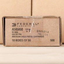 45 ACP FEDERAL AMERICAN EAGLE (TRAYLESS) 230 GRAIN FMJ (50 ROUNDS)