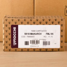 9X18 MAKAROV FIOCCHI 95 GRAIN FULL METAL JACKET (1000 ROUNDS)