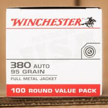 380 ACP WINCHESTER 95 GRAIN FMJ (100 ROUNDS)