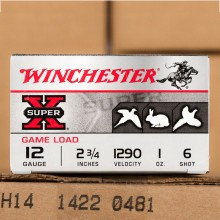 "12 GAUGE WINCHESTER SUPER-X 2-3/4"" 1 OZ. #6 LEAD SHOT (25 ROUNDS)"