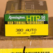 380 AUTO REMINGTON HTP 88 GRAIN JACKETED HOLLOW POINT (50 ROUNDS)