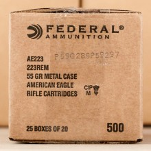 223 REMINGTON FEDERAL AMERICAN EAGLE 55 GRAIN FMJBT (500 ROUNDS)