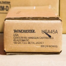 45 ACP WINCHESTER USA 185 GRAIN FMJ (500 ROUNDS)