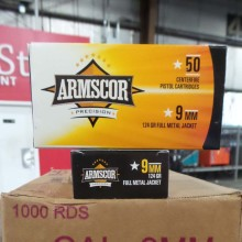 9MM LUGER ARMSCOR 115 GRAIN FMJ (1000 ROUNDS)