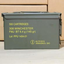 .308 PRVI PARTIZAN 145 GRAIN FMJBT IN AMMO CAN (500 ROUNDS)