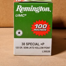 .38 SPECIAL +P REMINGTON UMC 125 GRAIN SJHP (100 ROUNDS)