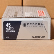 .45 ACP FEDERAL HI-SHOK 185 GRAIN JHP (50 ROUNDS)
