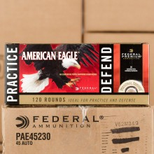 45 ACP FEDERAL AMERICAN EAGLE 230 GRAIN JHP & FMJ COMBO PACK (120 ROUNDS)