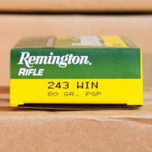 243 WIN REMINGTON RIFLE 80 GRAIN PSP (20 ROUNDS)