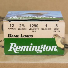 "12 GAUGE REMINGTON GAME LOADS 2-3/4"" GRAIN #8 SHOT (25 SHELLS)"