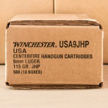 9MM LUGER WINCHESTER 115 GRAIN JHP (500 ROUNDS)