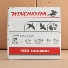 "12 GAUGE WINCHESTER USA HEAVY GAME & TARGET 2 3/4"" 1 1/8 OZ. #7.5 (100 ROUNDS)"