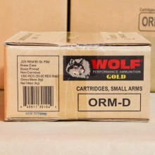 223 REMINGTON WOLF GOLD 55 GRAIN FMJ BRASS CASED (1000 ROUNDS)