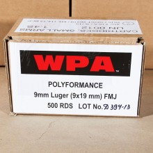 9MM LUGER WOLF WPA 115 GRAIN FMJ (500 ROUNDS)