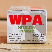 7.62X54R WOLF WPA 200 GRAIN SP (20 ROUNDS)