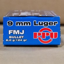 9MM LUGER PRVI PARTIZAN 124 GRAIN FMJ (1000 ROUNDS)