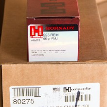 223 REM HORNADY 55 GRAIN FMJ-BT (50 ROUNDS)