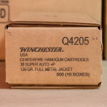 38 SUPER +P WINCHESTER 130 GRAIN FMJ (50 ROUNDS)