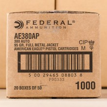 380 ACP FEDERAL AMERICAN EAGLE 95 GRAIN FMJ (1000 ROUNDS)