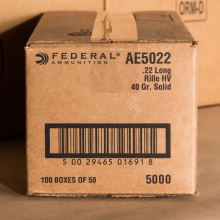 22 LR FEDERAL AMERICAN EAGLE 40 GRAIN LEAD ROUND NOSE (50 ROUNDS)