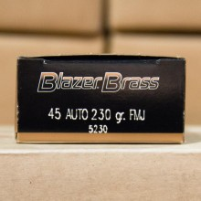 .45 ACP BLAZER BRASS 230 GRAIN FMJ (50 ROUNDS)