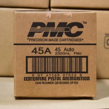 .45 ACP PMC BRONZE 230 GRAIN FMJ (1000 ROUNDS)