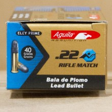 .22 LR AGUILA MATCH 40 GRAIN LRN (50 ROUNDS)