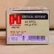 44 SPECIAL HORNADY CRITICAL DEFENSE 165 GRAIN FTX JHP (20 ROUNDS)