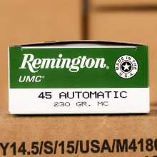 45 ACP REMINGTON UMC 230 GRAIN METAL CASE (500 ROUNDS)